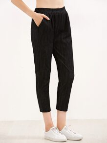 Black Elastic Waist Pants With Pockets