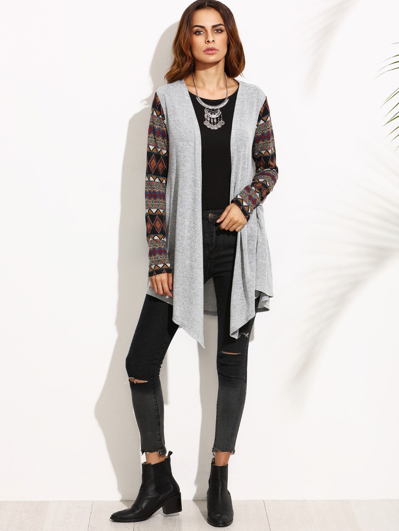 Grey Marled Knit Tribal Sleeve Waterfall CardiganGrey Marled Knit Tribal Sleeve Waterfall Cardigan<br><br>color: Grey<br>size: S,XS