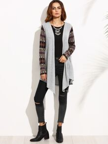 Grey Marled Knit Tribal Sleeve Waterfall Cardigan