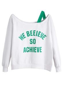 Letters Print Asymmetric Cold Shoulder Sweatshirt