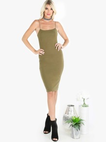 Straight Across Elastic Strap Midi Dress OLIVE