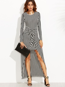 Vertical Striped Knot Front High Low Dress