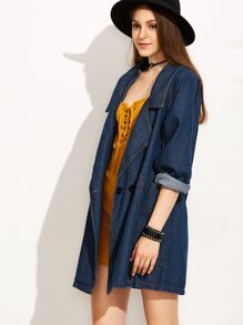 Blue Notch Lapel Denim Outerwear