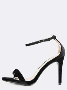 Open Toe Velvet Stiletto Heels BLACK