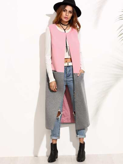 Contrast Collarless One Button Closure Vest