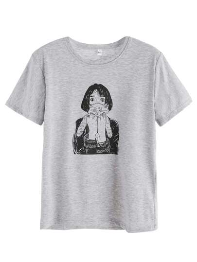 Grey Girl Holding Cat Print T-shirt
