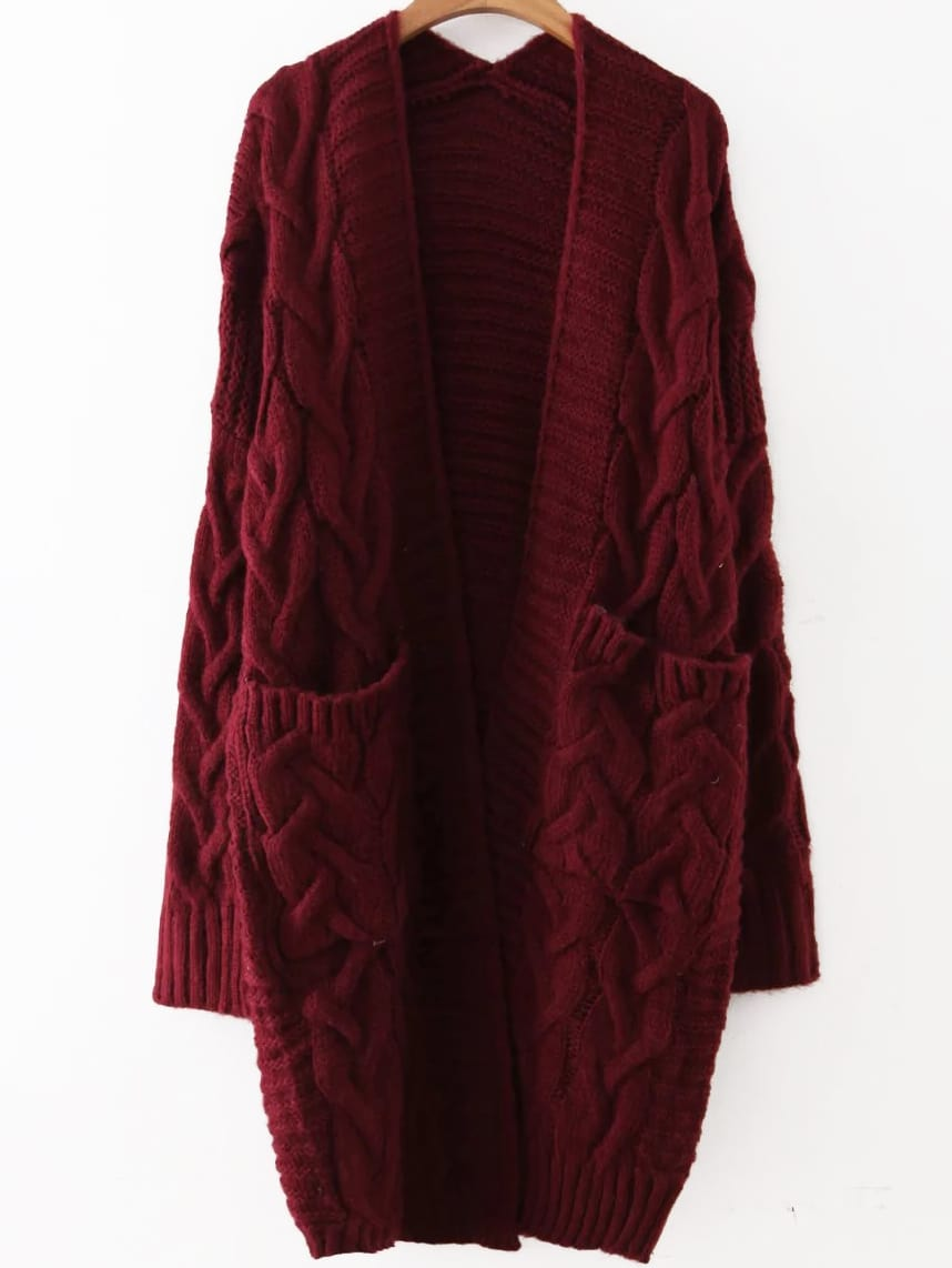 Cable Knit Front Pocket Long Sweater Coat -SheIn(Sheinside)