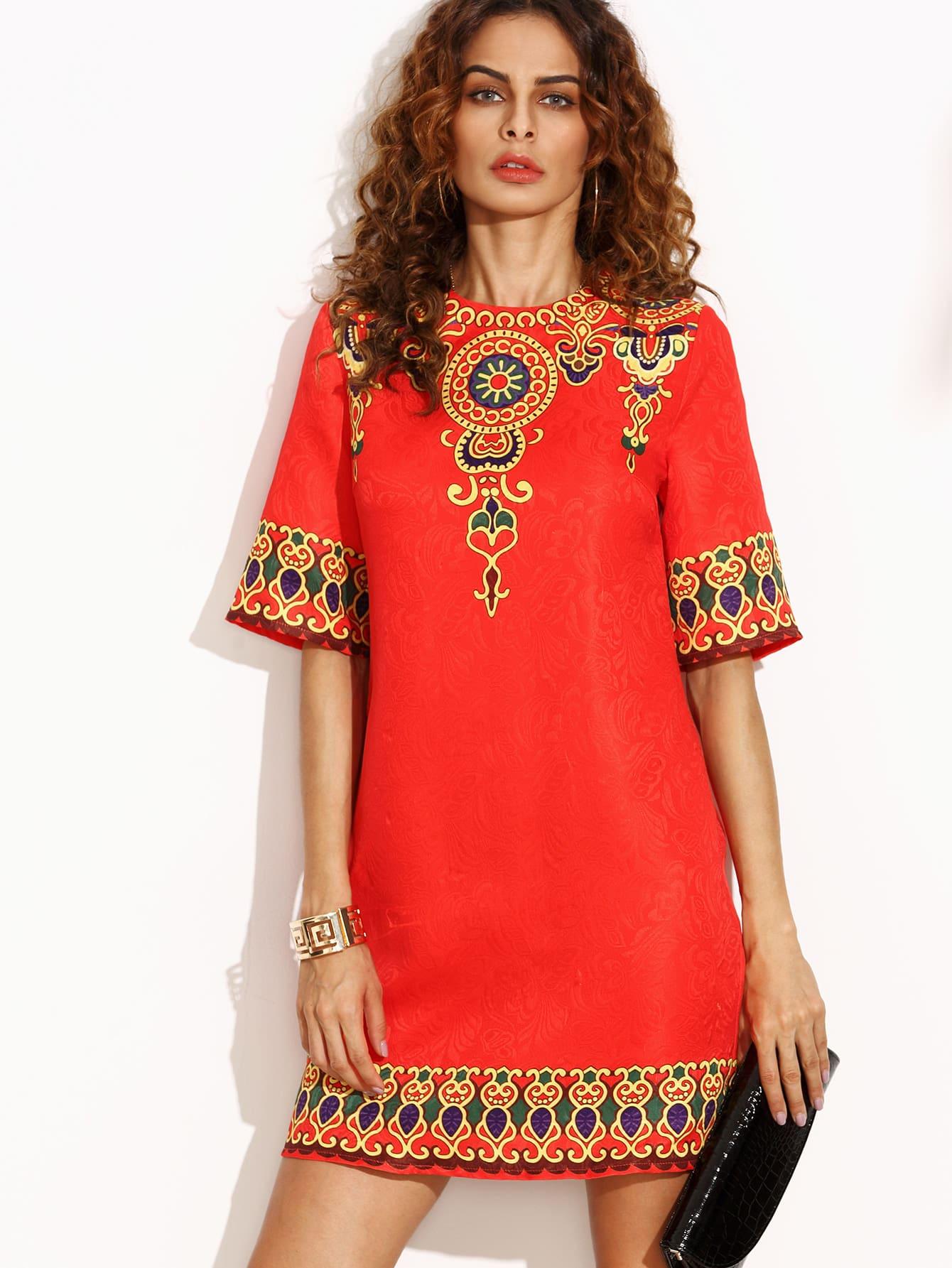 Red Print Half Sleeve Zipper Back Dress dress160809504