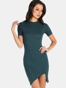 Short Sleeve Ribbed Bodycon Midi Dress HUNTER GREEN
