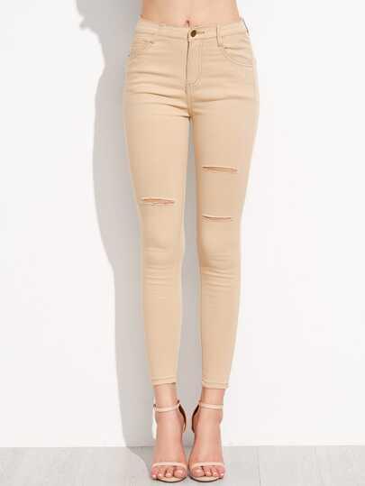 Khaki Ripped Skinny Jeans