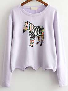Purple Zebra Print Scalloped Hem Sweatshirt