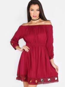 Off The Shoulder Crochet Sleeve Dress RASPBERRY