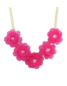 Hotpink Chunky Resin Flower Necklace