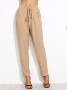 Apricot Drawstring Waist Tapered Pants