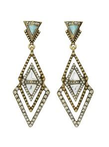 Geometric Rhinestone Big Hanging Earrings