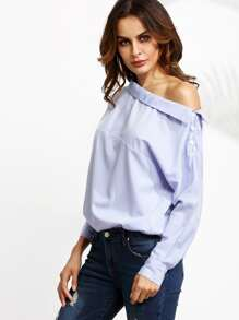 Blue Vertical Striped One Shoulder Button Blouse