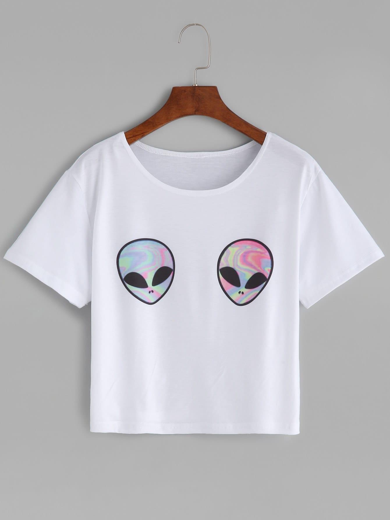 Купить Белая модная футболка с принтом Aliens, null, SheIn