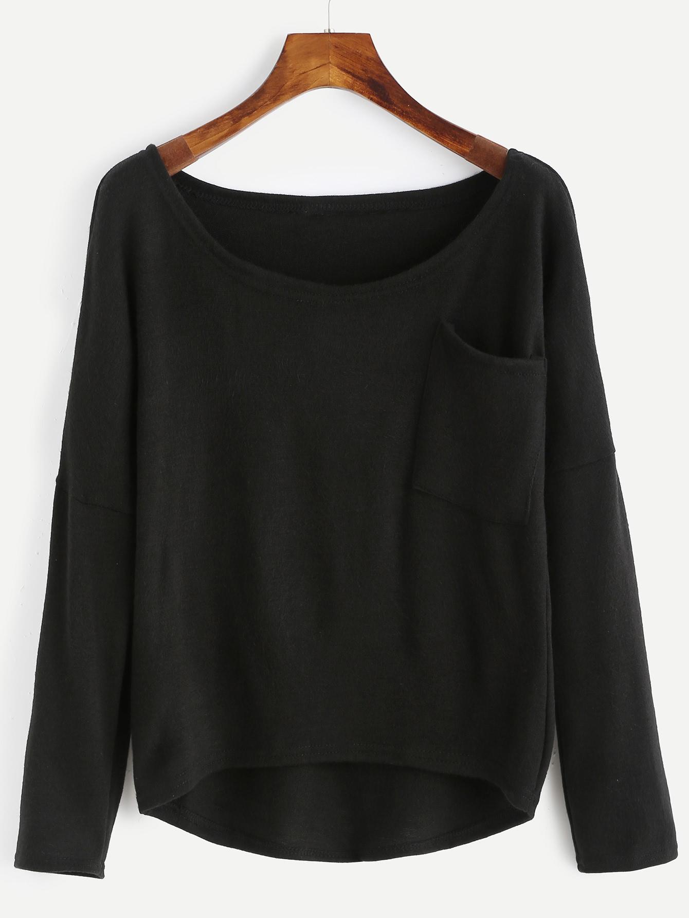 Front Pocket High Low Knitwear sweater160822003