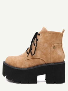 Brown Faux Leather Round Toe Lace Up Platform Boots