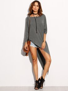 Grey Asymmetrical Long T-shirt