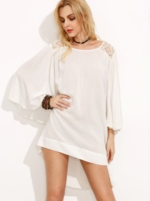 White High Low Shift Dress