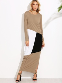 Camel Color Block Slit Long Cocoon Dress