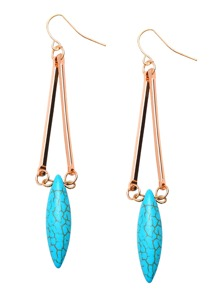 Gold Plated Long Turquoise Drop Earrings