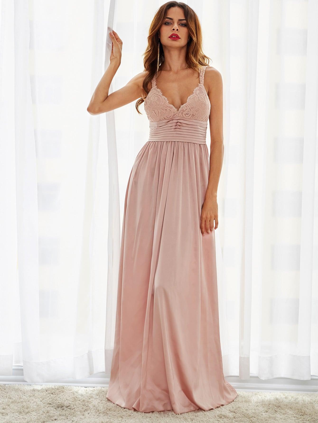 Vestido plisado con encaje en parte superior y cintura con pliegues ...