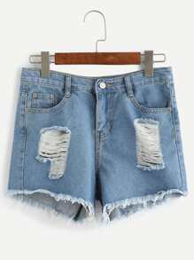 Shorts denim flecos color sólido