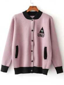 Pink Varsity Knitted Bomber Jacket With Pocket