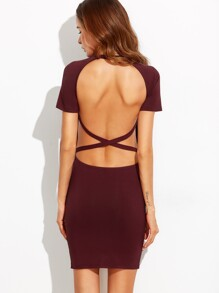 Burgundy Cutout Crisscross Back Sheath Dress