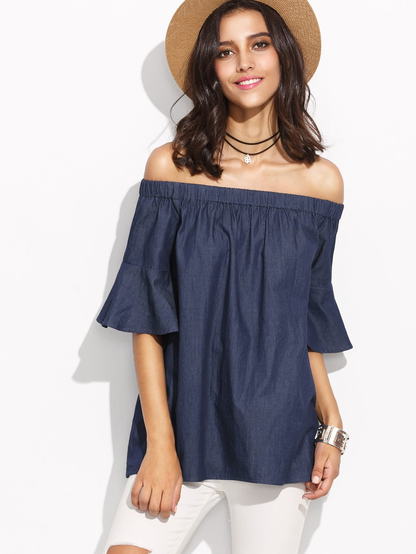 Blue Bell Sleeve Off The Shoulder Chambray TopBlue Bell Sleeve Off The Shoulder Chambray Top<br><br>color: Blue<br>size: L,M,S,XS