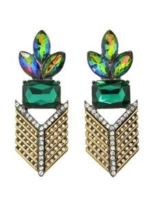 Colorful Rhinestone Flower Statement Hanging Earrings