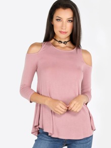 Sleeved Cold Shoulder Tank DUSTY MAUVE