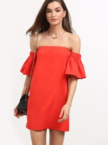 Red Off The Shoulder Ruffle Sleeve Dress