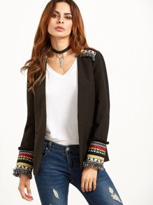 Black Collarless Blazer With Embroidered Detail