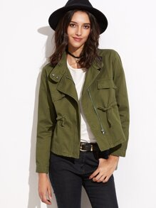 Army Green Drawstring Coat