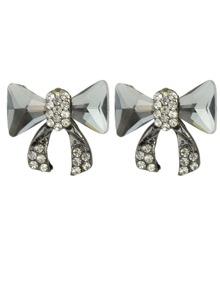 White Bow Tie Shape Stud Earrings