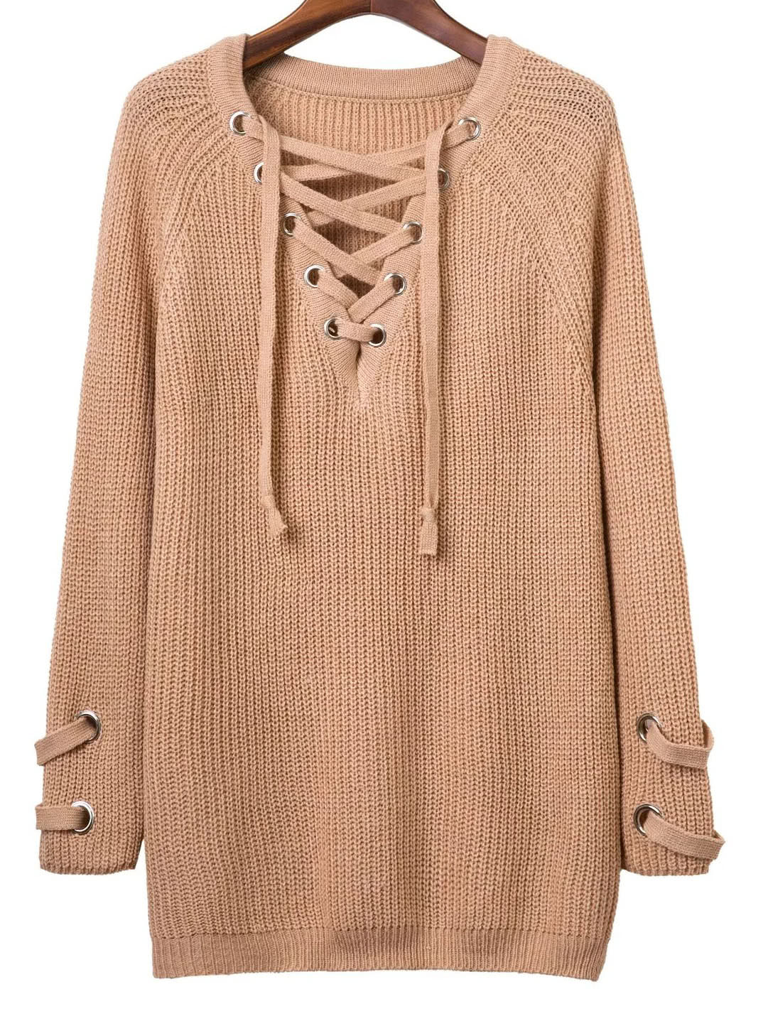 Eyelet Lace Up V Neck Knit Dress dress160805204