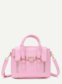 Pink Dual Handles Zip Detail Satchel Bag