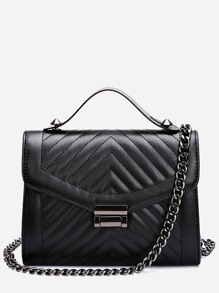 Chevron Quilted Envelope Bag With Chain