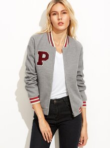 Heather Grey Baseball Jacket With Letter Patch
