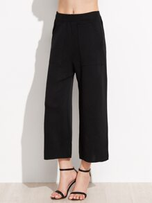Black Elastic Waist Wide Leg Pants