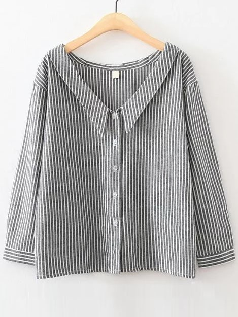 Black Vertical Striped V Neck Button Up BlouseBlack Vertical Striped V Neck Button Up Blouse<br><br>color: Black<br>size: L,M,S