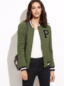 Olive Green Striped Trim Quilted Padded Jacket With Letter Patch