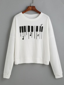 White Piano Keyboard Print Drop Shoulder Sweatshirt
