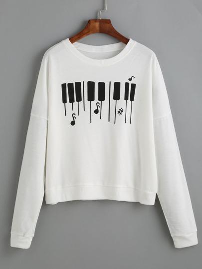 كنزة ثقيلة بيضاء بطباعة لوحة مفاتيح البيانو كم طويل
