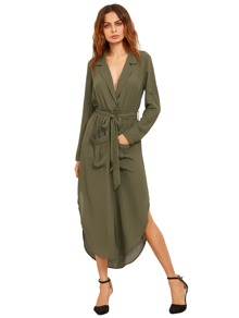 Green Lapel Self-tie HIgh Low Chiffon Dress With Pockets