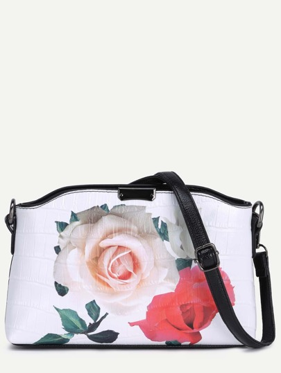 Rose Print Crocodile Embossed Shoulder Bag
