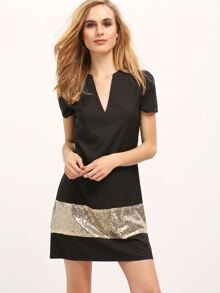 Black Deep V Neck Contrast Sequined Dress